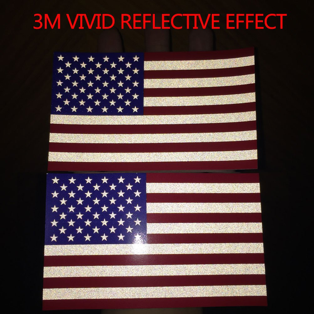 Full Color Chengyuan CREATRILL Reflective Subdued American Flag Sticker 3 X 5 Tactical Military Flag USA Decal Great for JEE Chevy or Hard Hat Ford Car Vinyl Window Bumper Decal Sticker