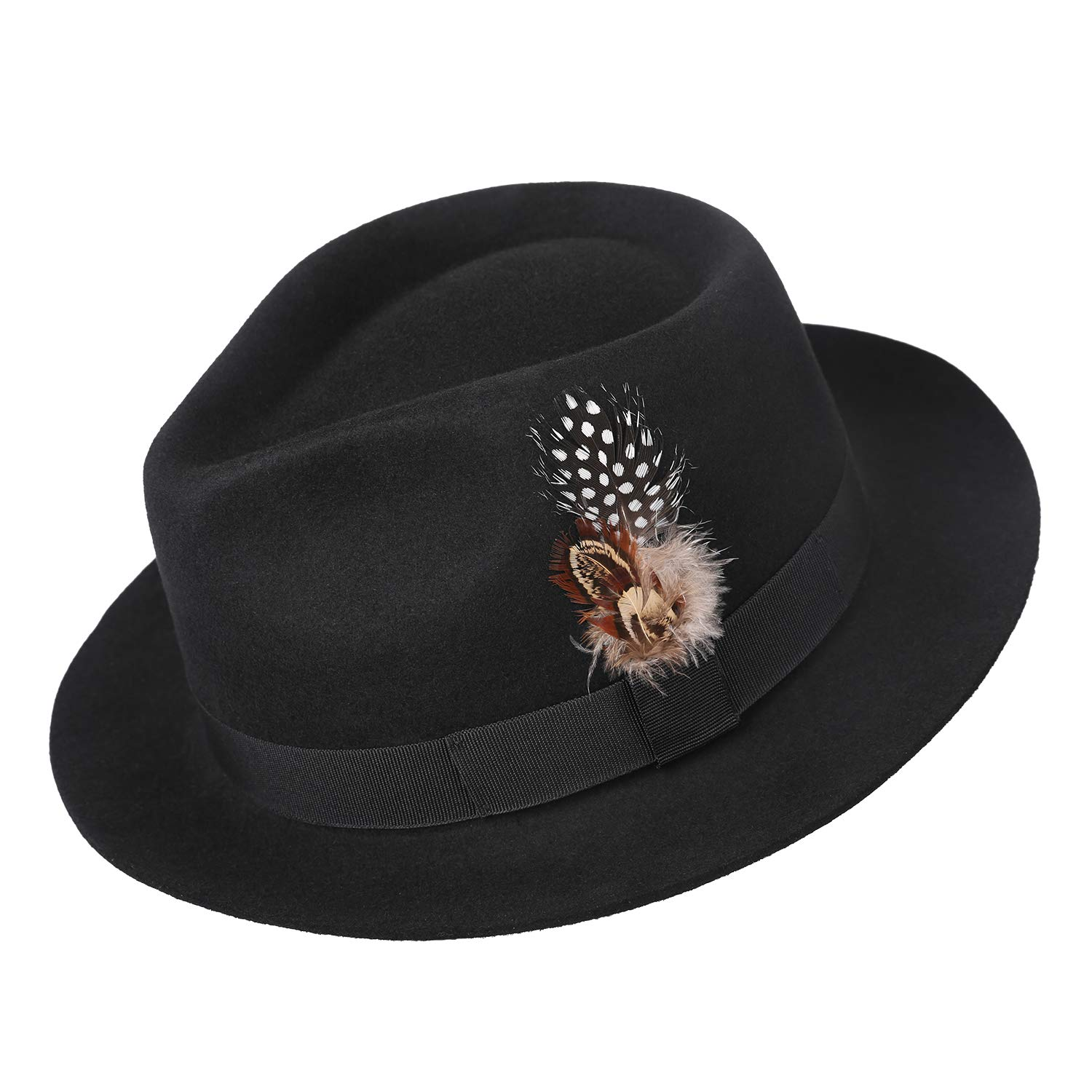 bc7264e5282 Deevoov Men Fedora Hats with Feather Australia Wool Felt Trilby Hat at  Amazon Men's Clothing store: