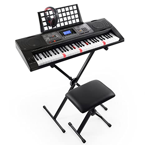 Joy 61 Key Lighted Touch Sensititive & Usb Midi(App) Keyboard Kit With Stand, Stool, Headphone & Power Supply (Kl 92 Ut Kit) by Joy