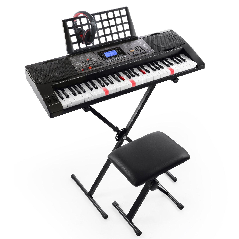 Joy KL-92UT-KIT 61-Key Light Touch Sensitive&USB-MIDI(APP) Keyboard Kit with Stand, Stool, Headphone & Power Supply