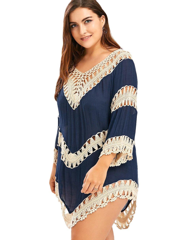 Vanbuy Women's Bohemian V Neck Crochet Plus Size Tunic Tops Blouse Shirt Hollow Out Beach Coverup Z01-91-BigBlue02