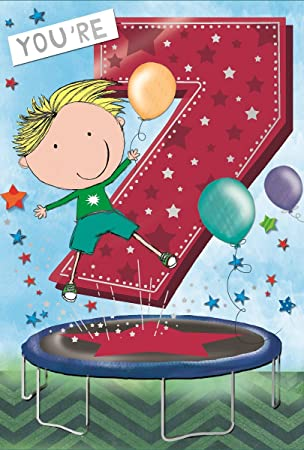 Age 7 Boy Birthday Card Little Boy Trampoline Balloons Stars