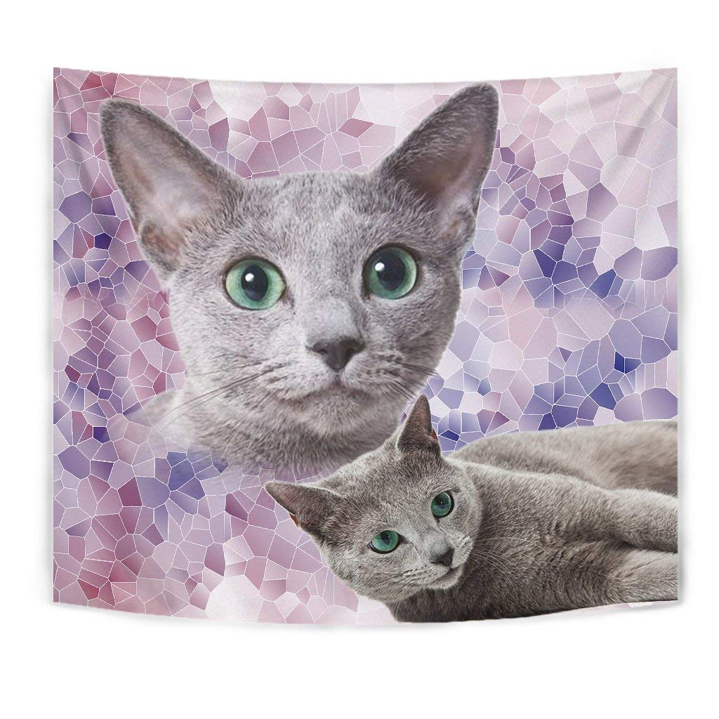 Cute Russian Blue Cat Tapestry by Paws With Attitude