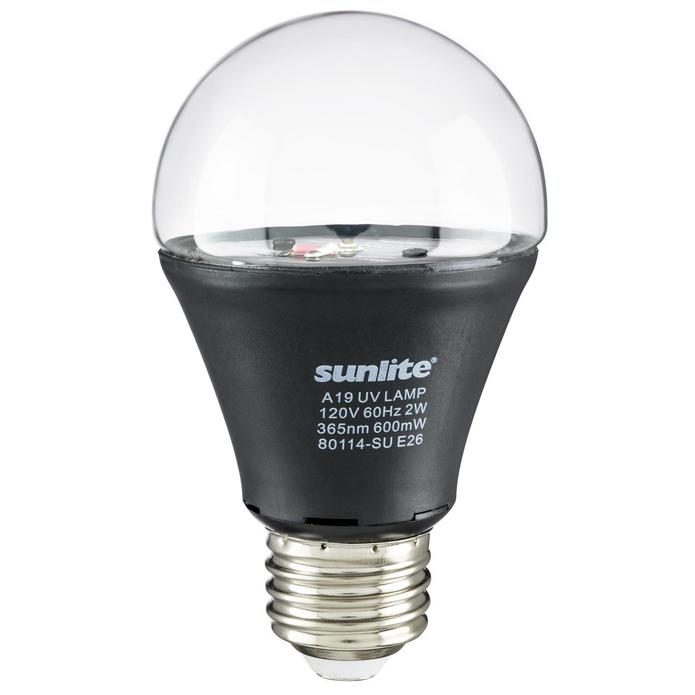 Sunlite A19/LED/2W/BLB LED UV 2W A19 Blacklight Blue Bulb with E26 Medium Base (2)
