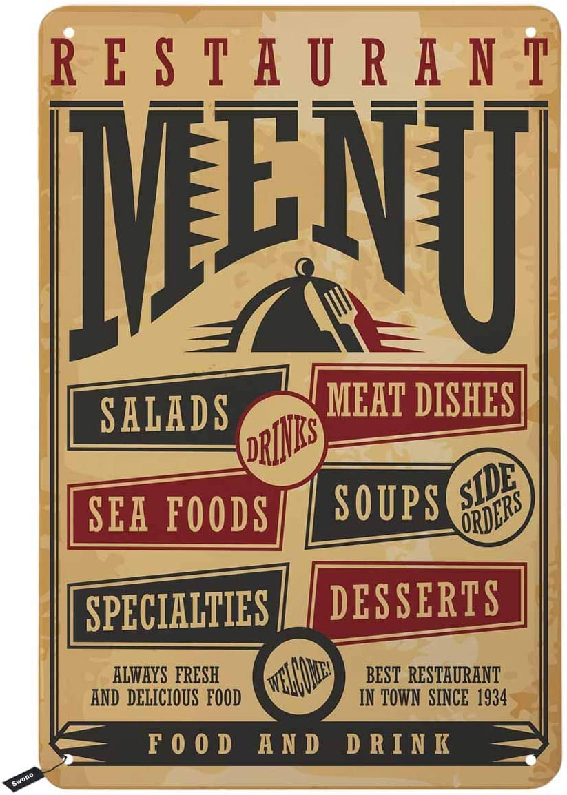Swono Restaurant Menu Tin Signs,Kinds of Food and Drink List Vintage Metal Tin Sign for Men Women,Wall Decor for Bars,Restaurants,Cafes Pubs,12x8 Inch