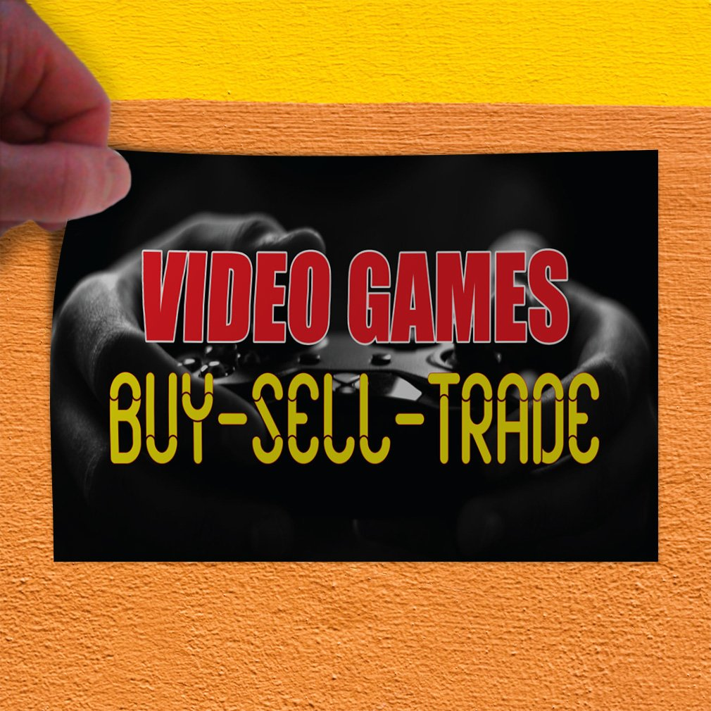 Decal Sticker Multiple Sizes Video Games Buy-Sell-Trade #1 Trade Shows Video Games Buy Sell Trade Outdoor Store Sign Black - 42inx28in, Set of 5 by Sign Destination (Image #3)