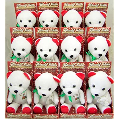 Malhame Lot of 12! Cross Holly Design Chest Heavenly Teddies Musical Silent Night Plush Toy Christmas Red White Green Teddy Bear: Toys & Games