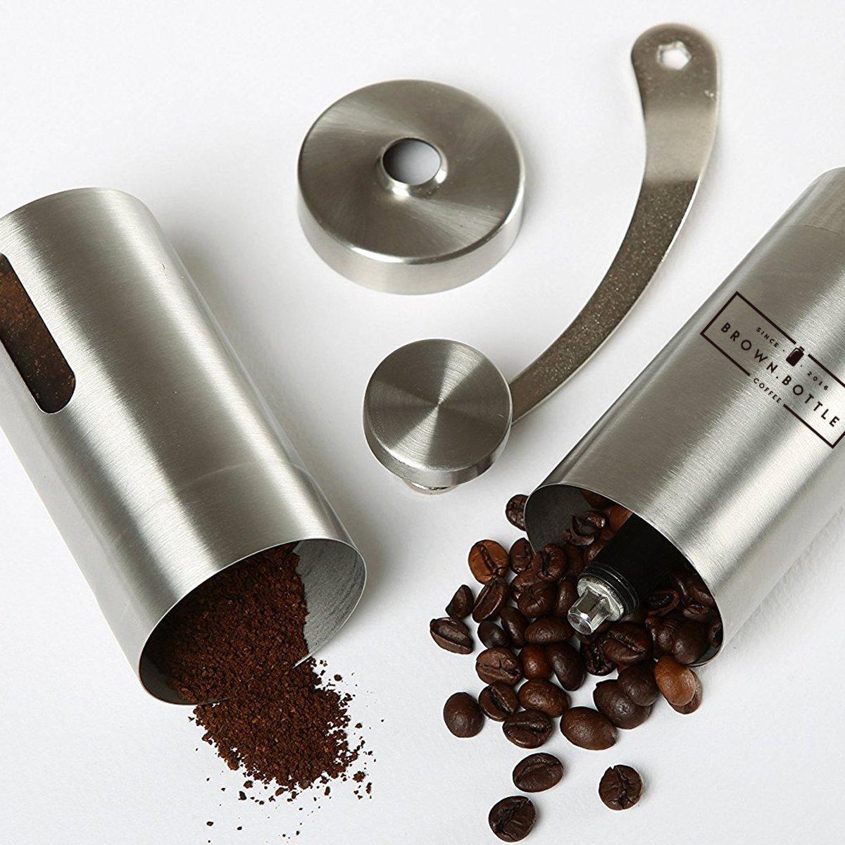 manuelle Handm/ühle f/ür Kaffeebohnen Kaffeem/ühle einstellbare Metall-Kaffeem/ühle f/ür gemahlenen Kaffee mit feinem und grobem Mahlgrad edelstahl Coffee Grinder