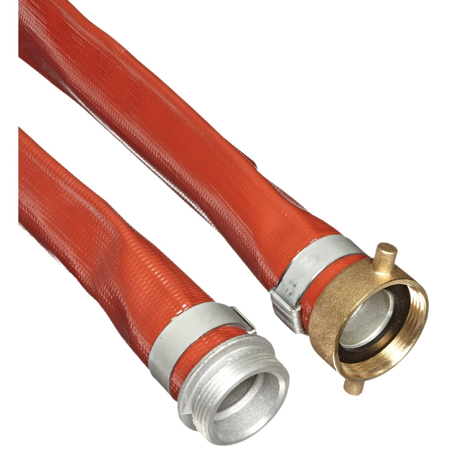 Unisource 250 Red PVC Discharge Hose Assembly, 2'' MPT x NPSM Female Swivel Connection, 150 PSI Maximum Pressure, 100' Length, 2'' ID