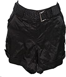 02df2e2a3f66 White House Black Market Satin Belted Shorts Size 8 Black