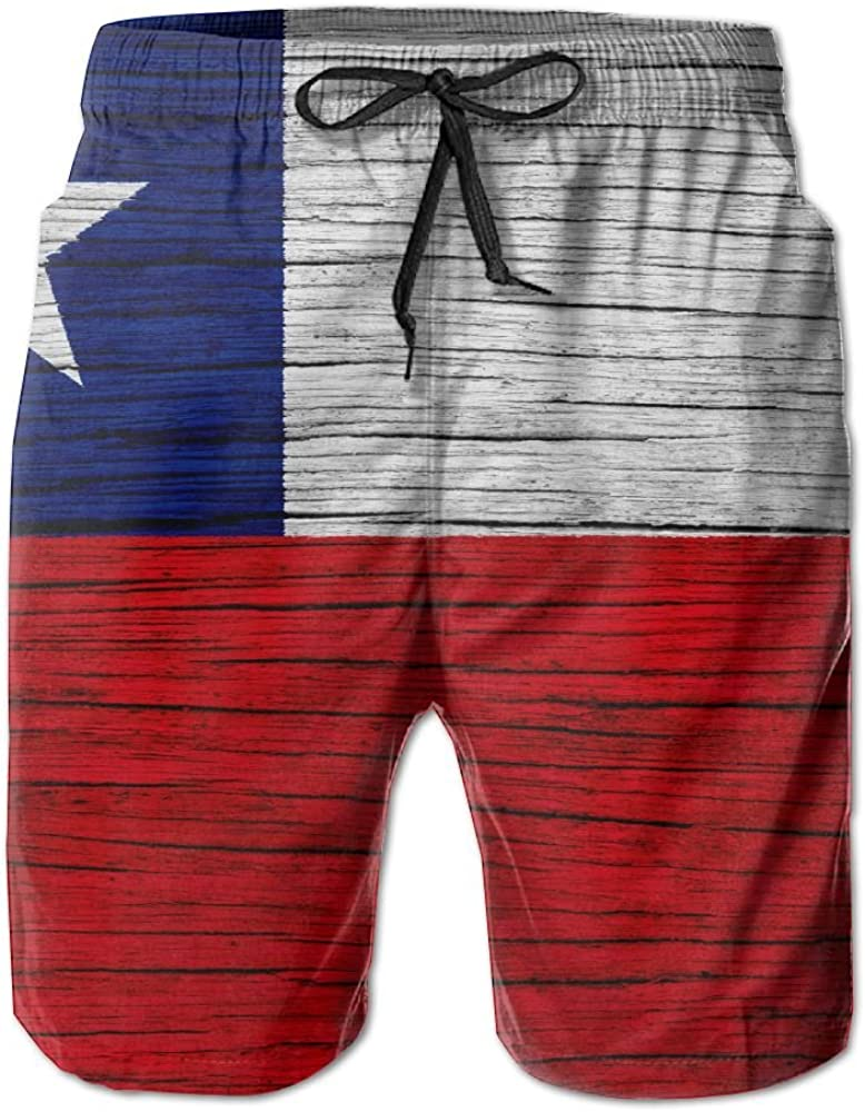 HFSST Wooden Texture Chilean Flag Men Kid Male Summer Swimming Pockets Trunks Beachwear Asual Shorts Pants Mesh