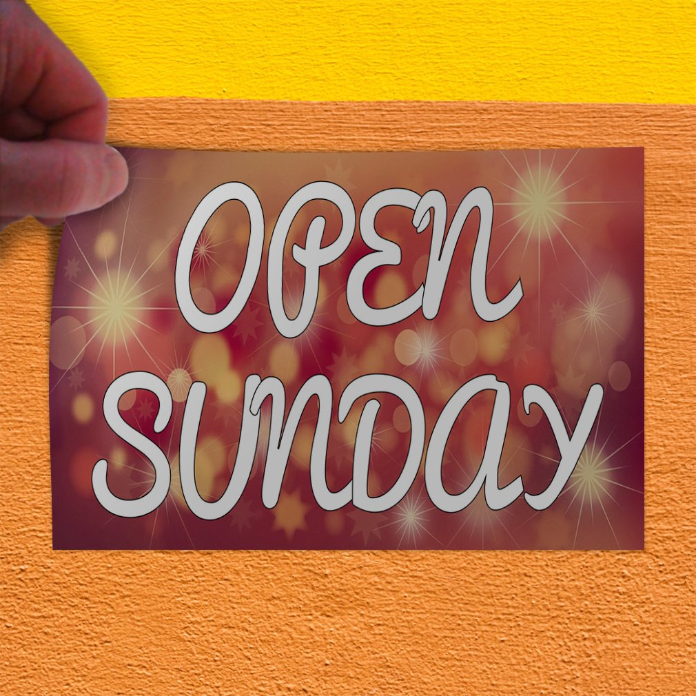 Decal Sticker Multiple Sizes Open Sunday #1 Style A Business Open Sunday Outdoor Store Sign Red 69inx46in One Sticker