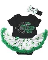My 2nd St Patrick Day Baby Dress Black Bodysuit White Clovers Tutu Romper Nb-18m