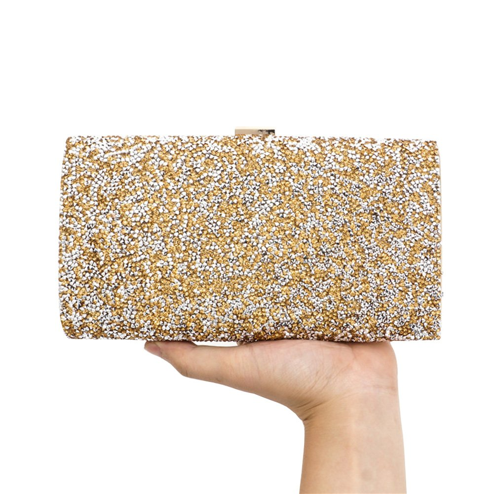 KICCOLY Bling Strass Abend Party Dinner Taschen Clutch Prom Crossbody Chain Wristlet 8009Gold