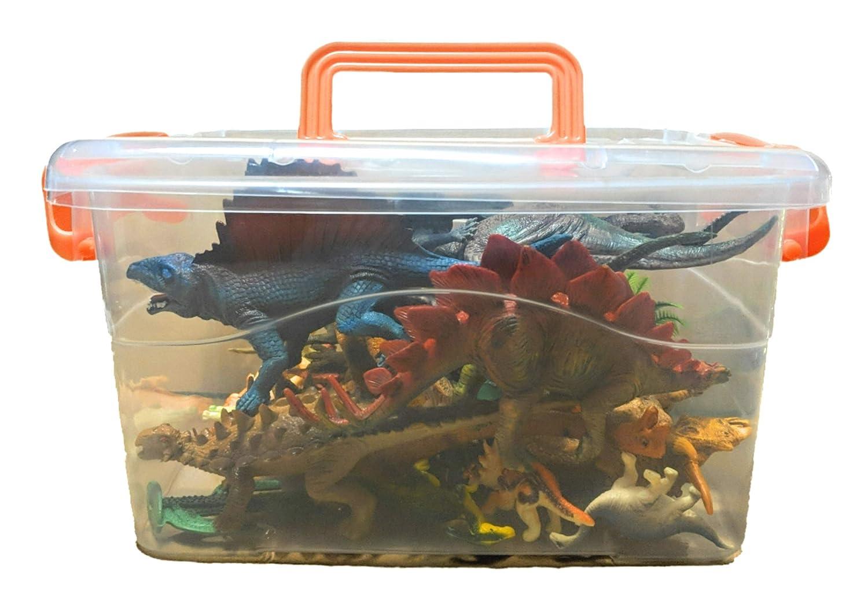 Jaac Street Dinosaurier Spielzeug Plastik Spielfiguren in Einer Box Realistische Farben 27-teiliges Set 12 groß (12-16 cm) 12 klein (4-6 cm) 2 Farne 1 Baum BF