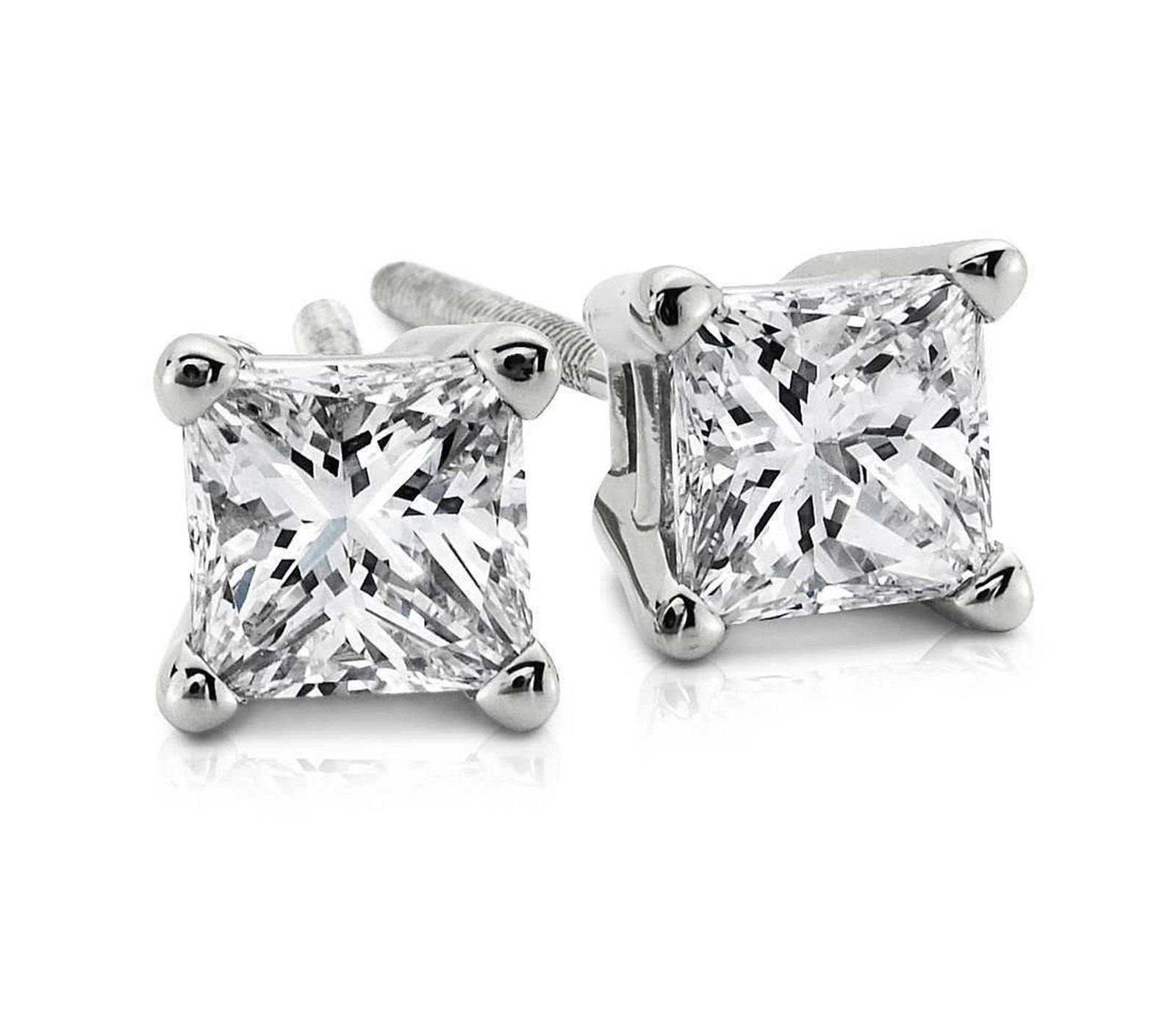 4.0 ctw Princess Brilliant Cut Simulated Diamond CZ Solitaire Stud Earrings in 14k White Gold Screw Back by Clara Pucci (Image #8)