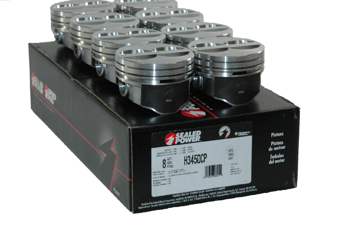 Speed Pro H345DCP 350 Small Block Chevy SBC Flat Top Pistons Coated Piston 5.7' (STD 4.00' Bore Diameter) Sealed Power