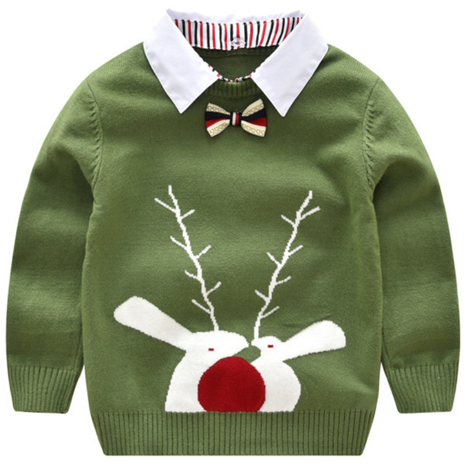 AUIE SAOSA The Boys Detachable collar and Fawn Core Spun Yarn Knitted Sweater Green GN130