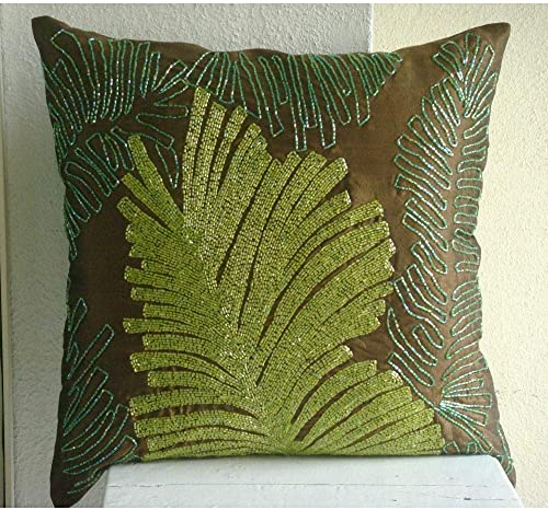 The HomeCentric Handmade Brown Euro Size Pillow Shams 26×26 inch 65×65 cm , Silk Euro Pillowcases, Nature Floral, Leaf, Beaded, Tropical European Shams – Rain Forest