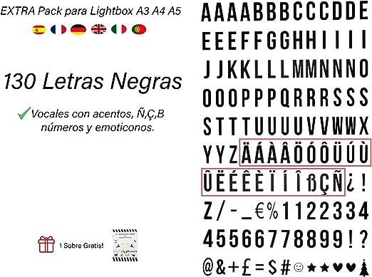 Pack de 130 letras en NEGRO para caja de luz led A4, A5 y A3 ...