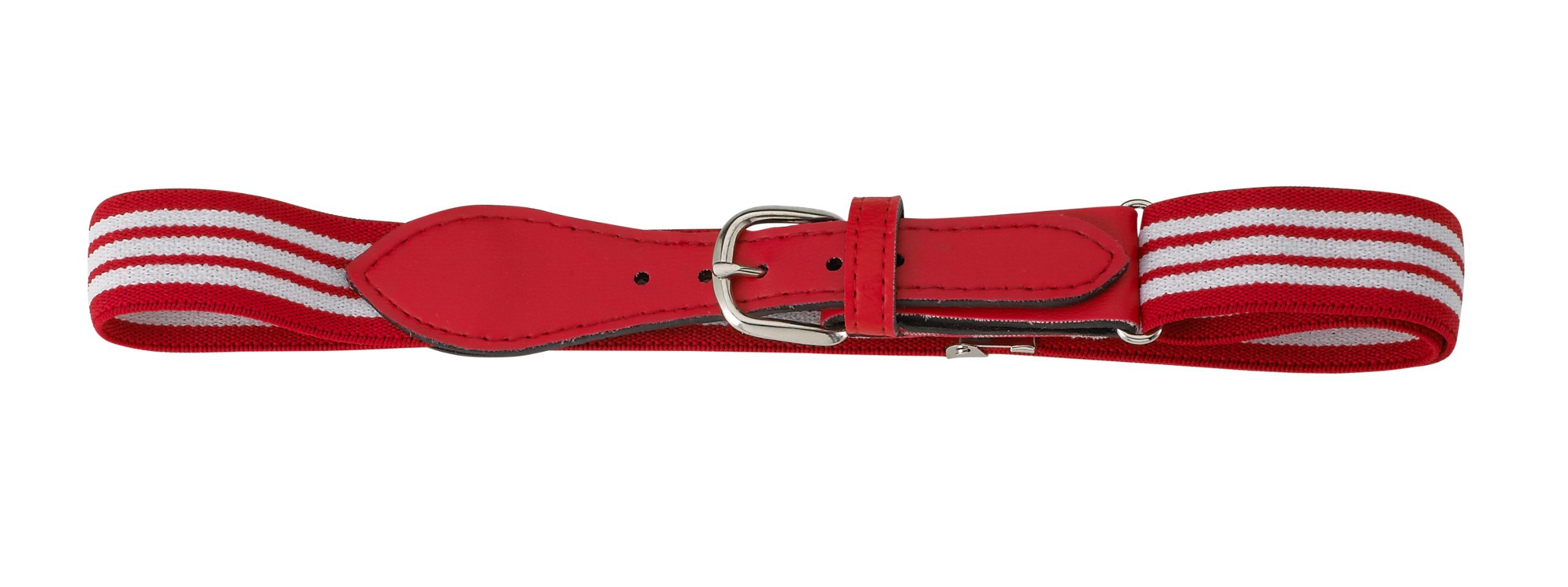Fancy Kids Striped Belt With Leather Closure (Red/White Striped Red Leather)