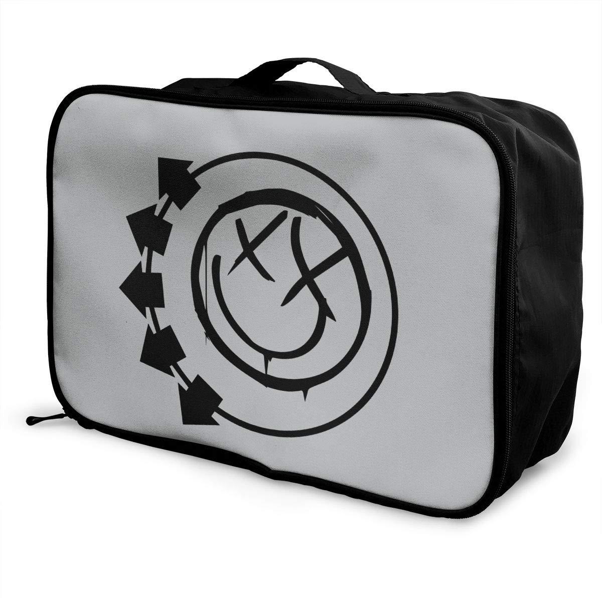 Blink-182 Logo Travel Luggage Storage Bag Duffel Bag Handle Makeup Bag Fashion Lightweight Large Capacity Portable Luggage Bag