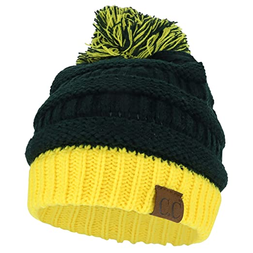 020e2721b72 Trendy Apparel Shop Two Tone Cable Knit Winter Pom Beanie - Green Gold