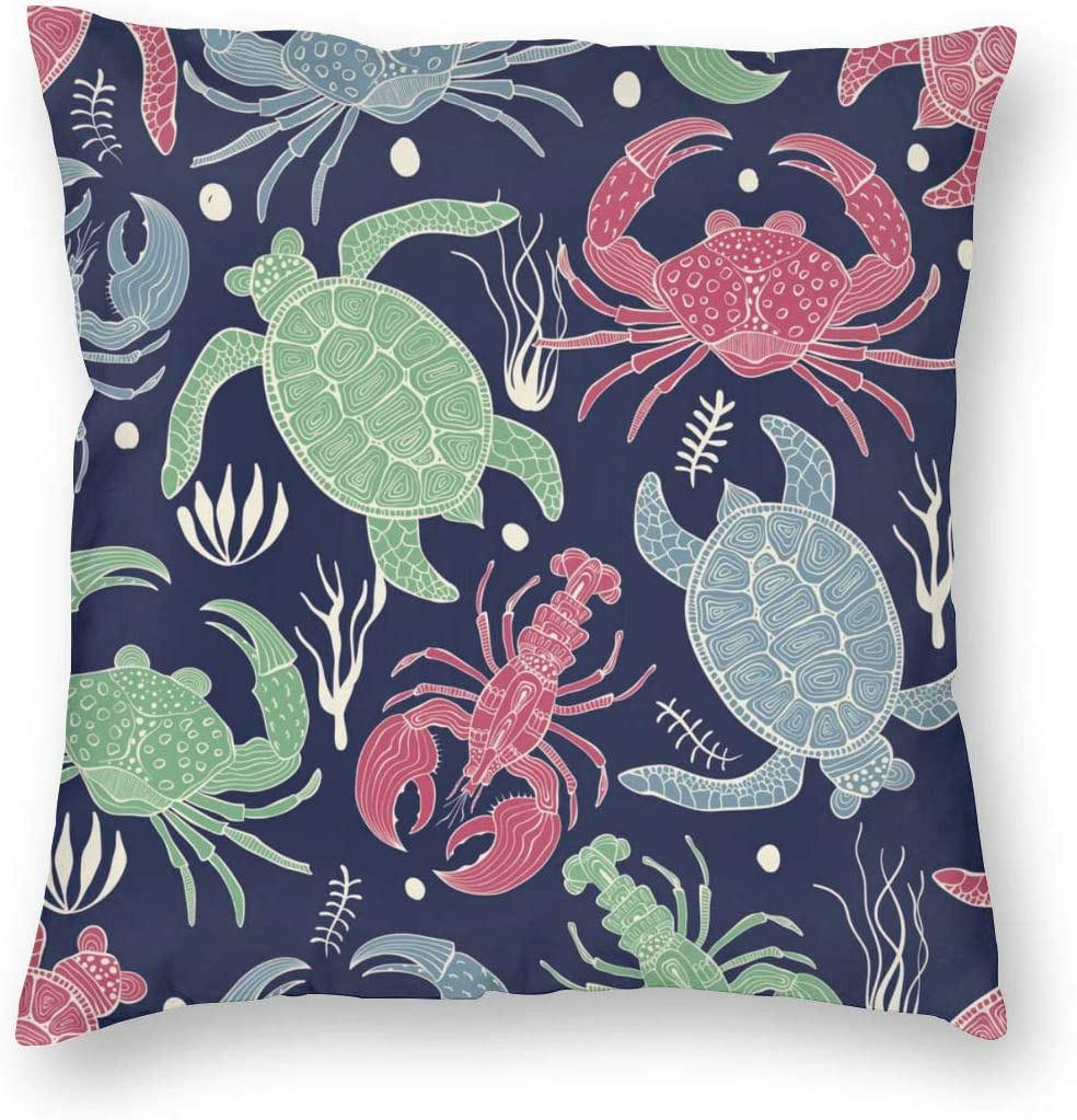 WAZHIJIA Sea Turtle Lobster Crab Decorative Throw Pillow Covers 18 X 18 Inch,Cartoon Animal Seafood Delicacy Cotton Linen Cushion Cover Square Pillow Cases for Car Sofa Home Decor