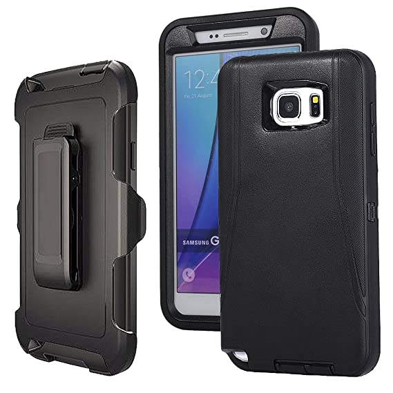 sports shoes 3bdb7 87b25 Galaxy Note 5 Case Defender,Harsel Belt-Clip Armor Shock Absorbing Heavy  Duty Impact Resistant Full-Body Protective Cover Case w/Clear Screen ...