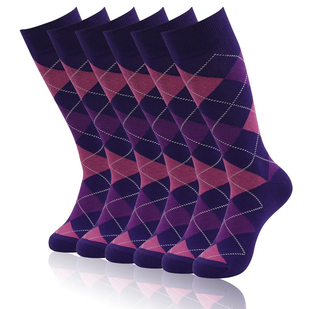 Mid Calf Dressy Socks, SUTTOS Men's Dress Socks 6 Pair Groomsmen Wedding Socks Ultimate Elite Casual Purple Argyle Plaids Charged Cotton Office Business Office Suit Socks Men Gifts Socks