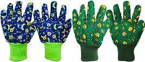 Kids Gardening Gloves Toddlers Gloves: Childrens Garden Soft Cotton Work Gloves for Age 3-8, 2 Pack