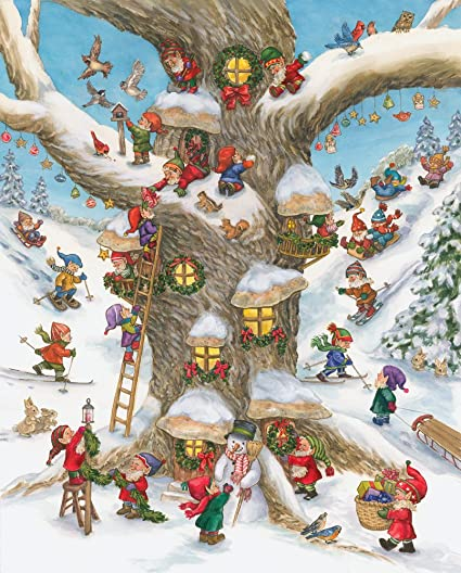 Santa /& Elves Miniature Wooden Jig Saw Puzzle