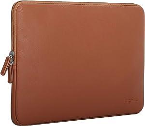 """MoKo 13-13.3 Inch Laptop Sleeve Bag Fits MacBook Air 13-inch Retina 2020-2016, MacBook Pro 13"""", Surface Book/Surface Laptop 13.5"""", Waterproof PU Leather Protective Case - Brown"""