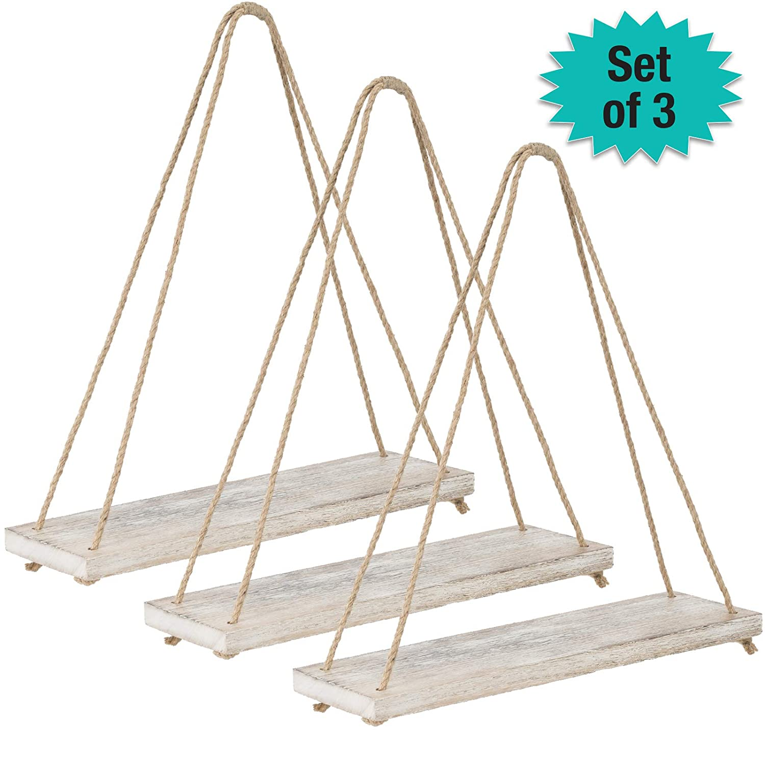 Rustic Distressed Wood Hanging Shelves: 17-Inch with Swing Rope Floating Shelves (Brown - Pack of 3)