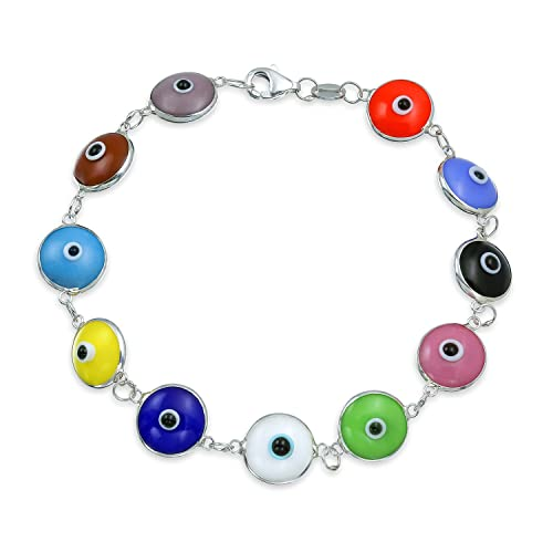 9c4097d0b Turkish Colorful Multicolor Evil Eye Glass Bead Bracelet For Women for  Protection and Good Luck 925