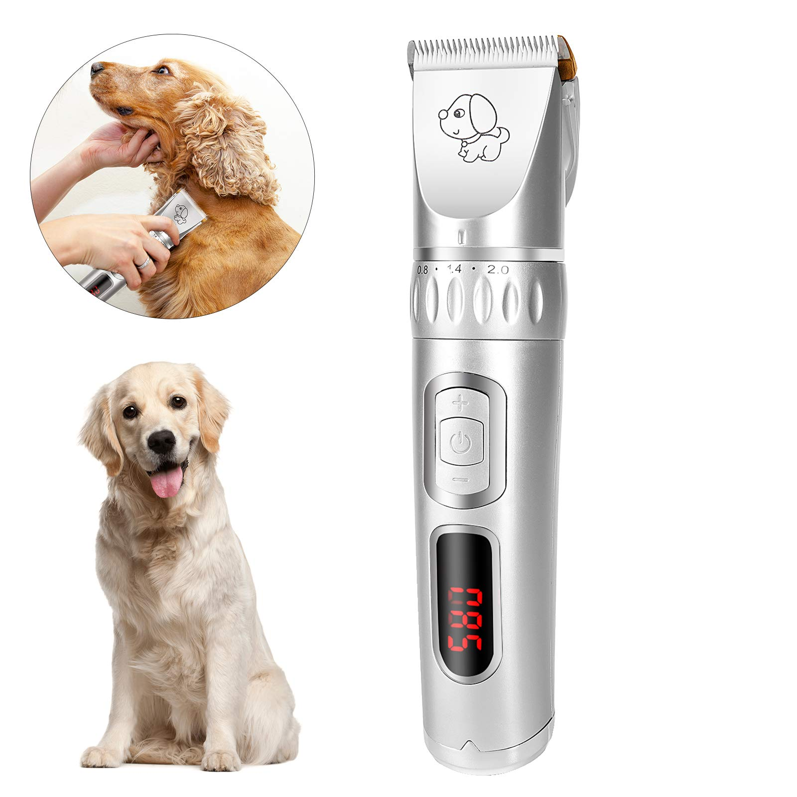 Zoneyee Pet Grooming Clipper Kits, Low Noise for Dogs and Cats, Rechargeable Cordless Electric Haircut Set for Pets