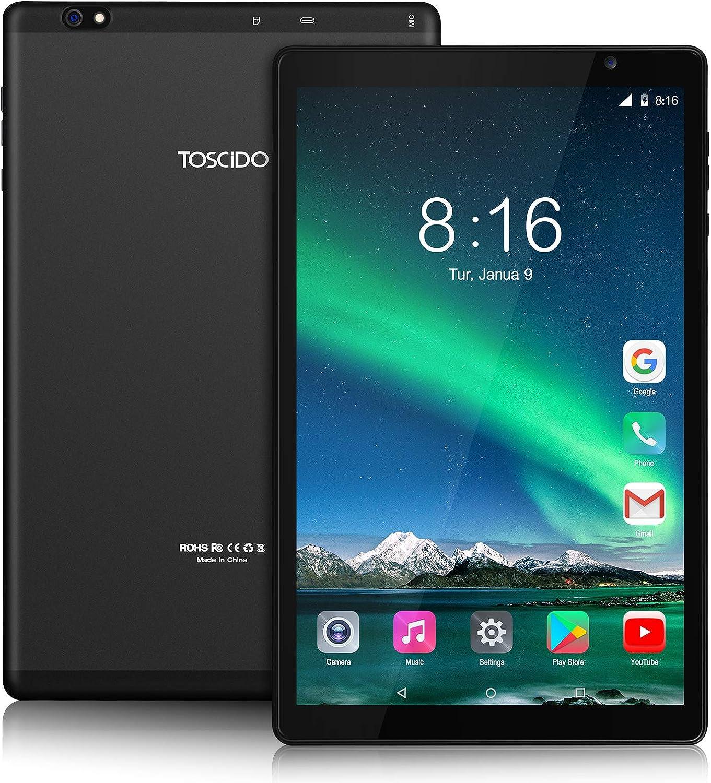 Tablet 10 Pulgadas TOSCIDO 1920*1200 IPS HD - Android 10.0,4GB RAM,64GB ROM,Octa Core 1.6GHz CPU de Alta Velocidad,5G WiFi,Bluetooth 5.0 -Negro