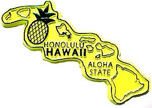 Hawaii Honolulu the Aloha State Yellow Fridge Magnet