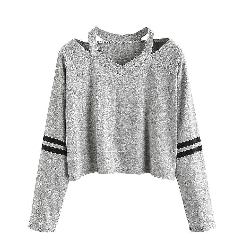 Mode Femmes Solide ÉPaules DéNudéEs Manche Longue Sweat-Shirt Col en V DéContractéE Haut Patchwork Rayé Chemisier Lonshell