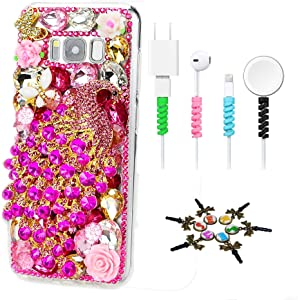 STENES Sparkle Case Compatible with Samsung Galaxy Note 20 Ultra Case - Stylish - 3D Handmade Bling Luxury Peacock Butterfly Flowers Design Cover Case with Cable Protector [4 Pack] - Hot Pink
