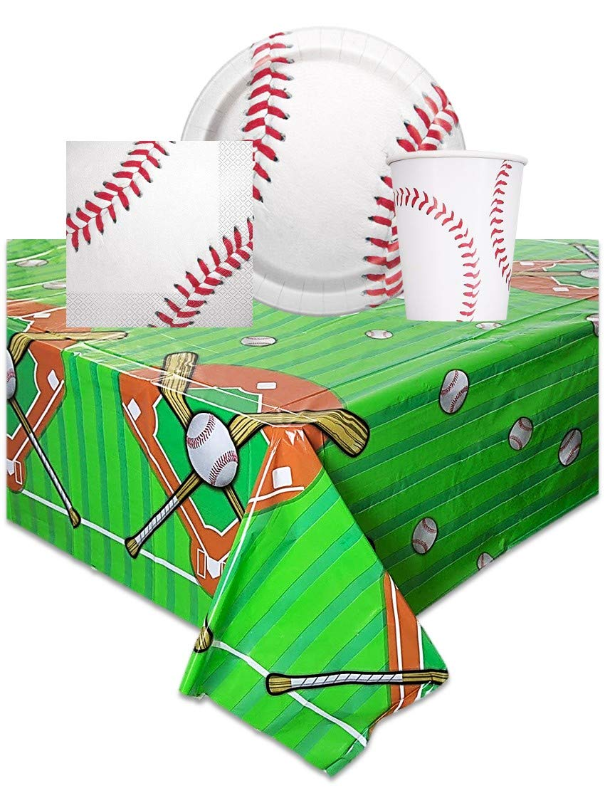 Baseball Themed Birthday Party Supplies - Includes One Tablecloth, 16 Party Napkins, 16 Party Plates, 16 Cups by kedudes