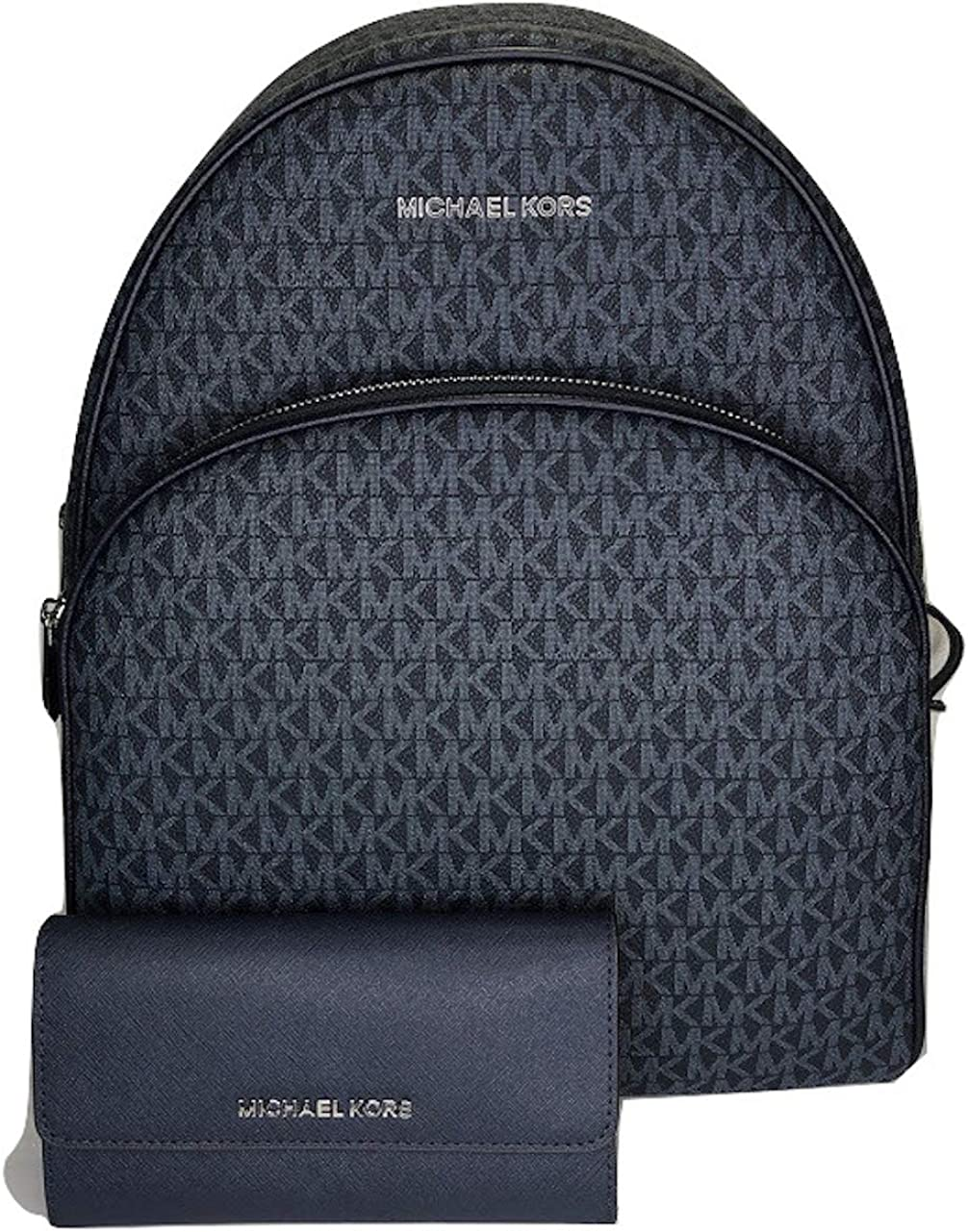 MICHAEL Michael Kors Abbey Large Backpack bundled with Michael Kors Jet Set Travel Trifold Wallet (Signature MK Admiral)