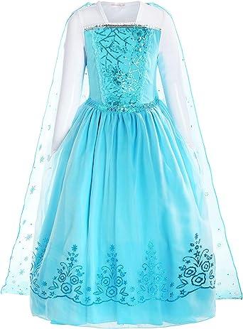ReliBeauty Girls Sequin Princess Elsa Costume Long Sleeve Dress up