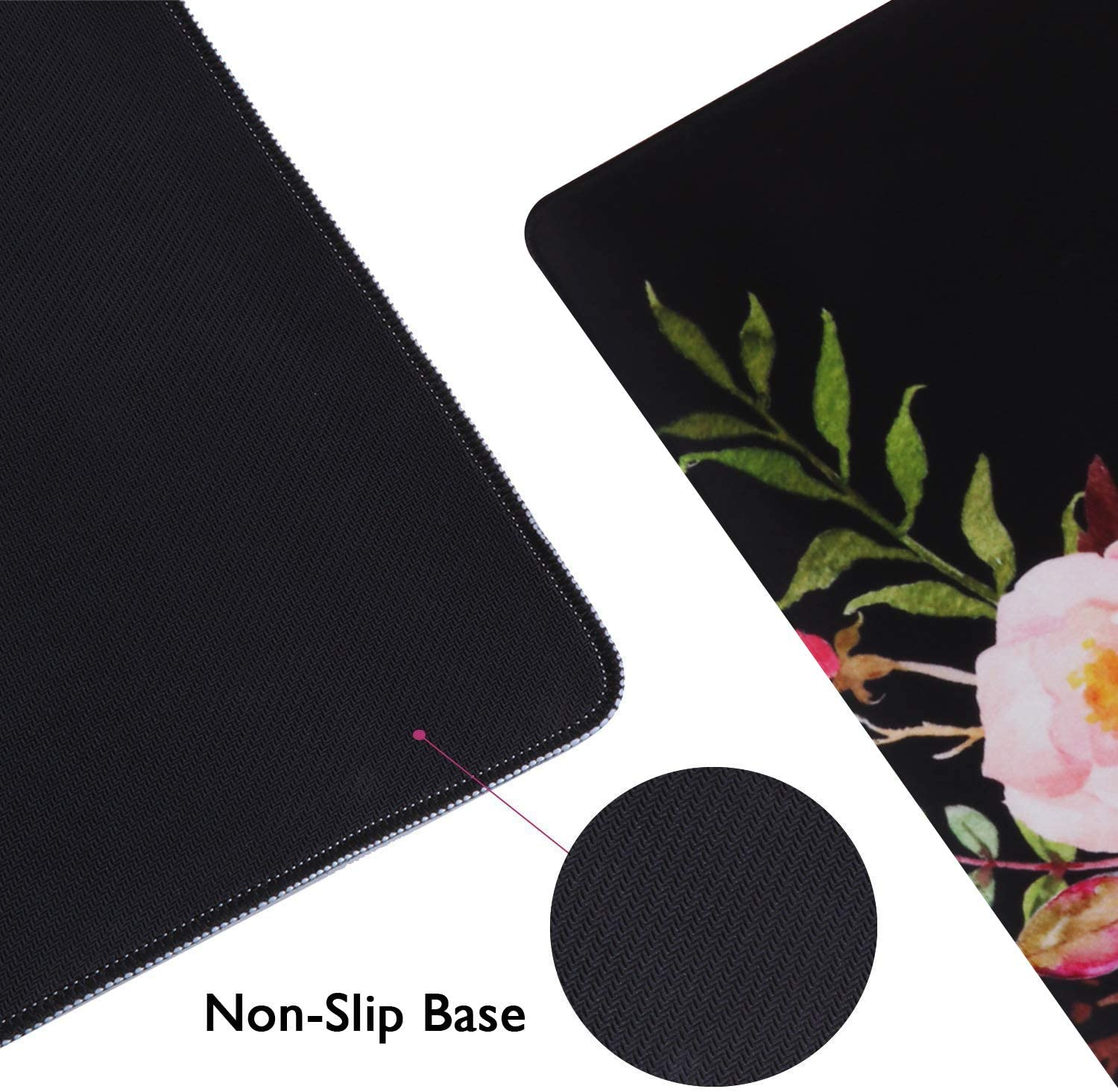 Office Waterproof Keyboard Mouse Mat Desk Pad for Work Pink Marble 35.4x15.7 in Home Game Large Non-Slip Rubber Base Mousepad with Stitched Edges iCasso Extended Gaming Mouse Pad