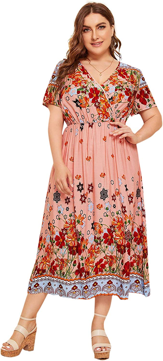Milumia Women Plus Size Casual Floral Boho Dress Fit Flare Maxi Dress