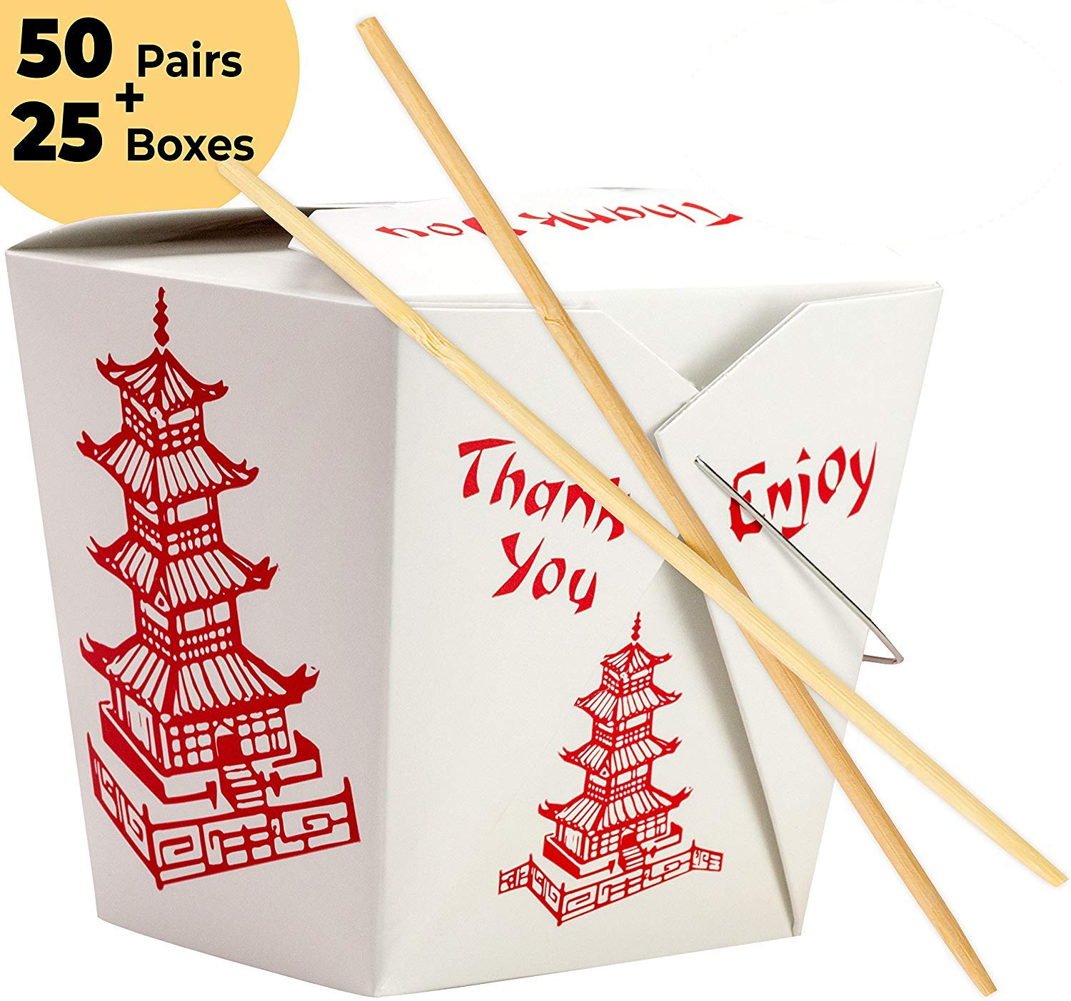 25 Chinese Design 32 Oz Take Out Food Containers and 50 Premium, Sleeved and Separated Bamboo Chopsticks By Avant Grub. Stackable, Recyclable Leak And Grease Resistant To Go Box For Events and Parties