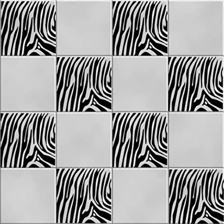 Vinylworld Funky Zebra Animal Print Kitchen / Bathroom Wall Tile Decal  Stickers X12 (BLACK)