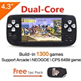 CZT Dual-core 4.3 inch screen 64Bit Handheld Game Console Portable Game Console build in 1300 no-repeat game for NEOGEO\CPS\GBA\GBC\GB\SFC\FC\MD\GG\SMS MP3/4 camera (Black)