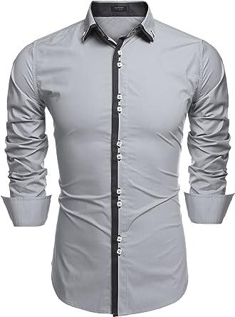 Coofandy - Camisa Casual - para Hombre Plateado Plata Small: Amazon.es: Ropa y accesorios