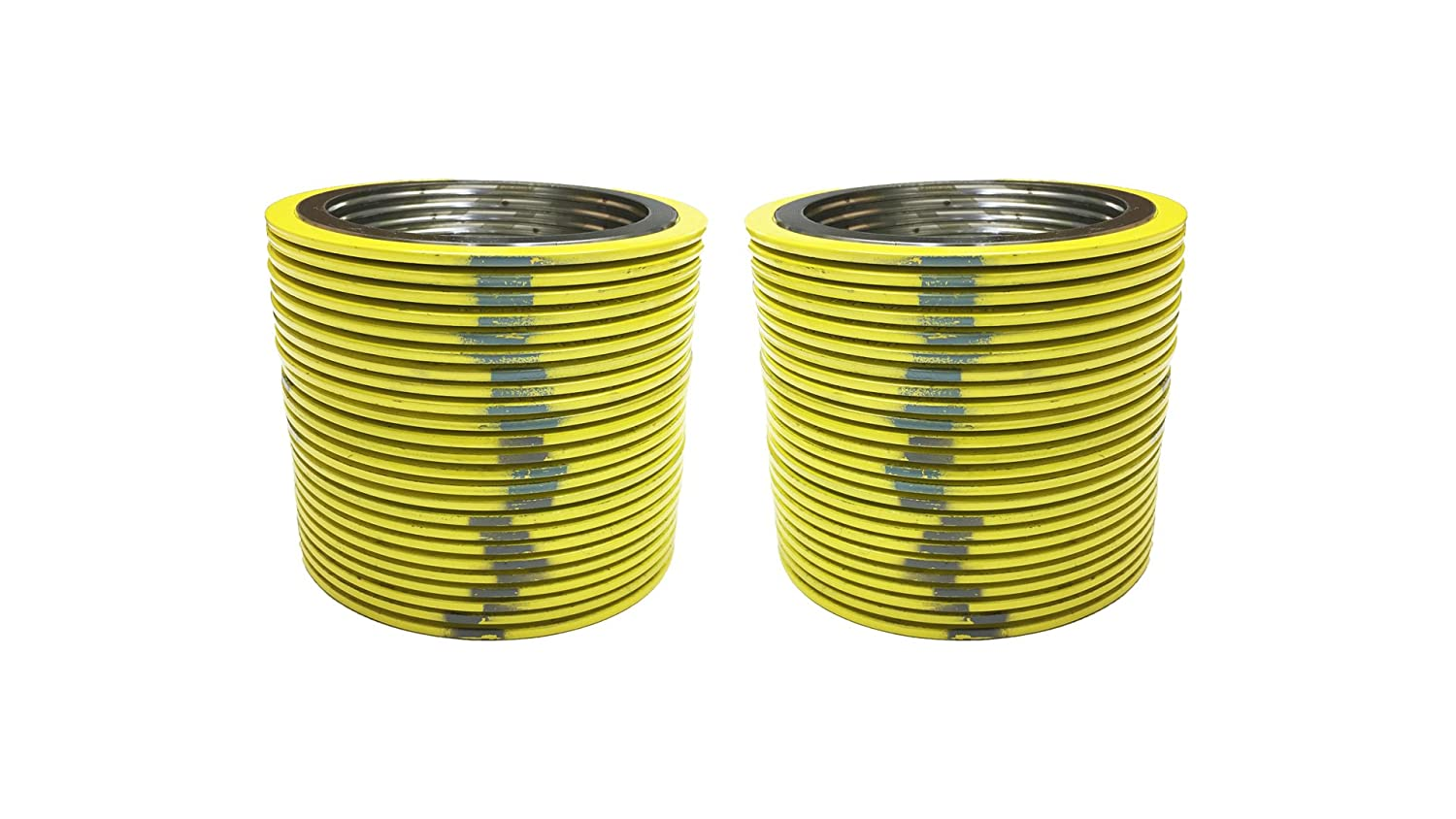 Sterling Seal 9000IR14304GR300X12 304 Stainless Steel Spiral Wound Gasket with 304SS Inner Ring and Flexible Graphite Filler Pack of 12 of NJ for 14 Pipe Supplied by Sur-Seal Inc Pressure Class 300# Yellow with Grey Stripe for 14 Pipe